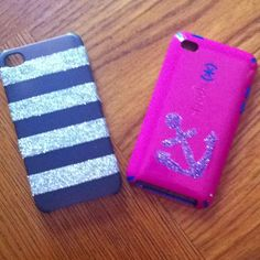 DIY phone cases! Take a drab old phone case and turn it into something fun!!:) 1) tape or make a stencil for the design  2) paint with a clear coat of old nail polish 3) put any type of glitter over Polish  then shake off 4) then remove tape and or stencils 5) put another clear coat only over the glittered section and let dry! 6) enjoy your finished project!:)