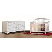 Pali Designs Wendy Forever Crib and Double Dresser - Distressed White