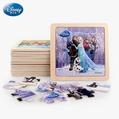 9pcs Disney Cartoon Wooden Puzzle For Children Education Learning Kids Toys Mickey Minnie Frozen Princess High Quality Puzzles