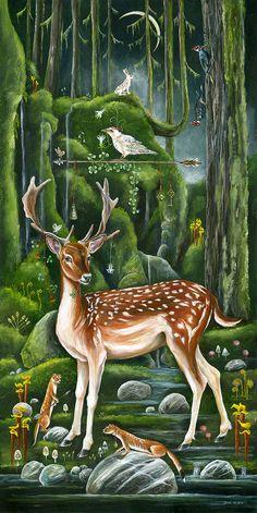 Art by janie olsen deep roots, big flower in 2019 рисунки, и Art And Illustration, Photo D Art, Fairytale Art, Painting Gallery, Wildlife Art, Whimsical Art, Animal Paintings, Indian Art, Amazing Art