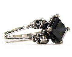 Skull Engagement Ring Blue Topaz Sterling by KipkalinkaJewels