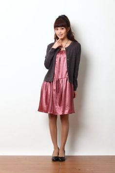 Sweet Mommy Layerd Knit Cardigan and Dot Satin Maternity and Nursing Dress « Dress Adds Everyday