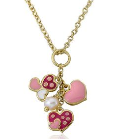 Fuchsia & Pink Heart Pearl Necklace by Little Miss Twin Stars