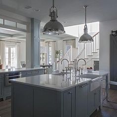 Gray Kitchen Island with Two Apron Sinks