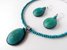 Papel colar e brincos de pérola set colar -Fingerprint + brinco / teal azul verde, profundo colar de contas pretas / Papel / First presente de aniversário