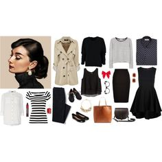 Audrey Hepburn wardrobe part 1 by kist-42 on Polyvore featuring Dorothy Perkins, MANGO, H&M, Dolce&Gabbana, Louche, Lands' End, Accessorize, Madewell, N'Damus and The Limited