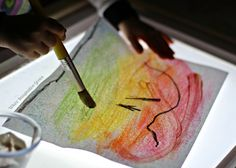Chalk Art on the Light Table!  Combine art with light table play for preschoolers!