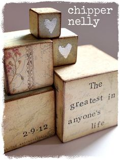 wedding wooden blocks with silver leaf heart