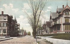 Vintage 1909 Postcard Fitchburg, Mass., Highland Ave. Looking North is beautifully lined with victorian houses. The postmark on the back is Fitchburg, Aug 21 12:30-, 1909 Mass. Miss corona Poulin of 74 Water St., in Ware, Mass., was the lucky recipent of this vintage card from Alma. Also, printed on the postcard back: The Hugh C. Leighton Co., Manufacturers, Portland, ME U.S.A., Made in Germany 3733.by NookCove, $1.29
