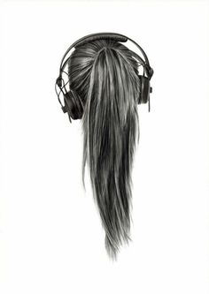 drawing of girl hair listening to music - Google Search