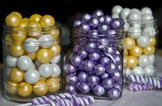 Unexpected purple and yellow candies are a beautiful combination for a candy buffet.
