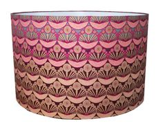 "Metallic Pink African Repeat Pattern Fabric Lampshade Large 16"" Textile Interior Design Lighting Handmade Light"