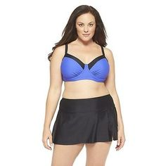 Women's Plus Size 2 pc. Blue/Black Swimsuit-Ava & Viv