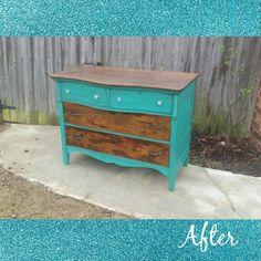 Turquoise and dark stain antique buffet refurbish. Www.facebook.com/okiecharm
