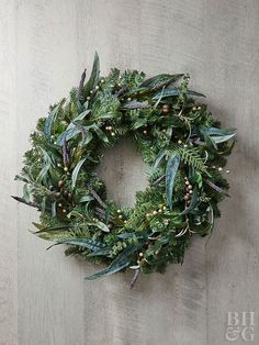 Create a gorgeous wreath with hints of indigo and purple for Christmas decor that's one-of-a-kind.