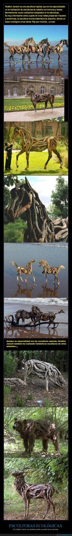 Troncos y animales, combinación muy recomendable - Por Heather Jansch, una auténtica artista y amante de los animales