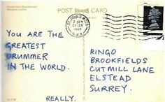 A postcard from Paul to Ringo after a fight while recording Back in the U.S.S.R.