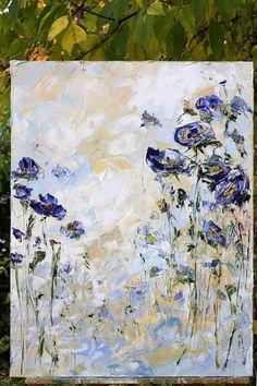 Set 3 Original pintura al óleo flores azul violeta arte