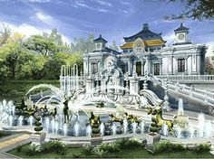 Photographs Show the Ruins of the Old Summer Palace - Visit Haidian! – Your Official City Guide Fantasy City, Fantasy Castle, Fantasy Places, Chinese Architecture, Ancient Architecture, Old Summer Palace, Future Buildings, Imperial Palace, Most Beautiful Gardens