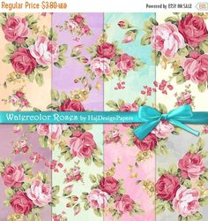 """SALE Rose digital paper : """"Watercolor Roses"""" watercolor digital paper with roses in shabby chic style, digital floral paper for scrapbook, c"""