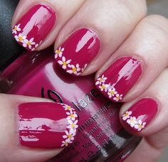French tip flowers - nail art.