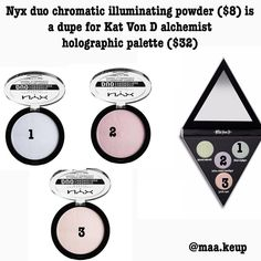 """63 Likes, 6 Comments - ♢ makeup dupes ♢ (@xodupes) on Instagram: """"Nyx duo chromatic illuminating powders are definitely for those of you who want a BLINDING…"""""""