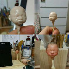 New born baby doll making! polymer clay doll http://blog.naver.com/realbabydoll 베이비돌, 아기인형, 신생아인형, 진짜같은인형!