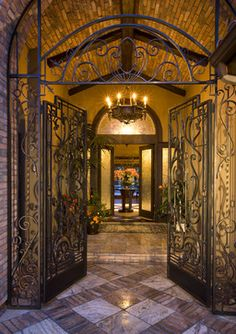 Entry Courtyard with hand forged Iron work sets the stage! - mediterranean - entry - san diego - Robeson Design