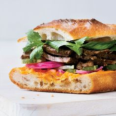 Short Rib Banh Mi with Quick Pickles and Fresh Herbs // More Amazing Sandwiches: http://www.foodandwine.com/slideshows/sandwiches