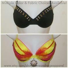 Decorated Bras: Choose from any of our decorated bras or custom design your own. #rave #music #festival #club #ravewear #clubwear #dance #gogo #dancer #edm #plur #edc #umf #custom #bra #tutu http://www.etsy.com/shop/loveandrageapparel