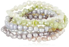 Dyed Pastel Colors Freshwater Cultured Pearl Stretch Bracelet, Set of Seven ** Discover this special jewelry, click the image : trend jewelry 2016