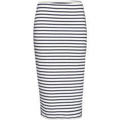 ONLY Knee Pencil Skirt ($19) ❤ liked on Polyvore featuring skirts, stripe skirt, striped pencil skirt, cotton skirt, white knee length skirt and striped skirt