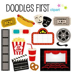 Movie Night Digital Clip Art for Scrapbooking Card Making Cupcake Toppers Paper Crafts - Ticket Cinema, Cinema Party, Movie Party, Kino Party, Outdoor Movie Nights, Comedy And Tragedy, How To Make Cupcakes, Movie Themes, Movie Decor