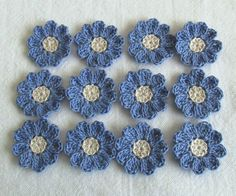 Periwinkle Blue Crochet Flowers for Scrapbooks or Sewing 12