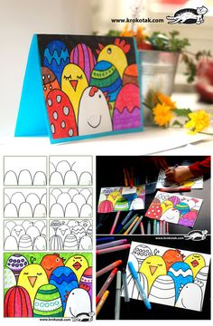 Easter Crafts - How to make an easy Easter postcard Easter Arts And Crafts, Easter Projects, Spring Crafts, Art For Kids, Crafts For Kids, Tarjetas Diy, Easter Activities, Children Activities, Elementary Art