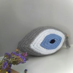 Evil Eye Pillow, Crochet Evil Eye Cushion, Summer Cushion, Island decoration, Decorative Pillow, Boho Home Decor, Greek style, Throw Cushion Good Luck Gifts, Crochet Baby Beanie, Decorative Cushions, Throw Cushions, Newborn Gifts, Baby Room Decor, Evil Eye, Christmas Time, Baby Shower Gifts