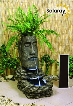 Easter Island Head Solar Water Feature and Planter with LED Lights by Solaray�
