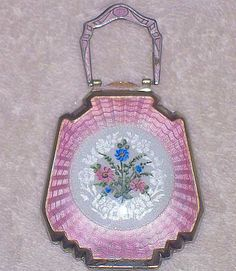 F.M. Co. Pink Enamel Guilloche Compact with Hand-Painted Flower Bouquet.