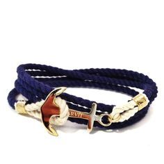 Anchor Cord Bracelet Men S Gold Charm By Sharvit Rope