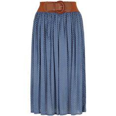 Izabel London Blue polka dot midi skirt ($44) found on Polyvore