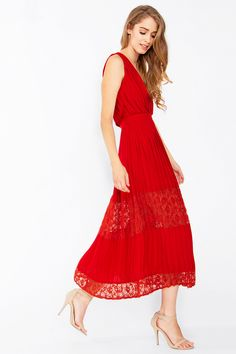 Eternal Pleats and Lace Midi Cocktail Dress - Red