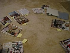 Inspiration Binder: Tear pages I like out of magazines, organize by category (room, colors, furniture, etc.) Each page goes into a sheet protector. Love!