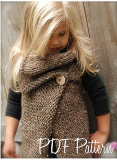 Knitting PATTERNThe Westlynn Wrap Toddler Child by Thevelvetacorn, $5.50