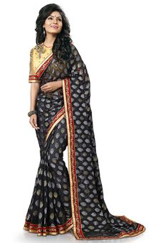 Abstract Printed Georgette Brasso Saree in Black