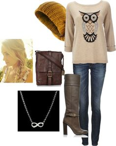 """""""Owl Sweater - Fall/Winter"""" by bekahjoy813 on Polyvore"""