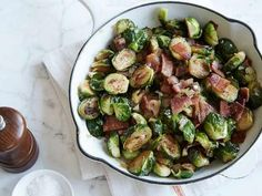 Pan Roasted Brussels Sprouts with Bacon