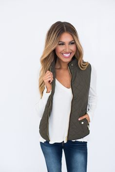Olive Quilted Vest - Dottie Couture Boutique