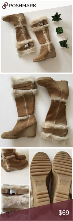 """• Coach """"Sharma"""" Suede/Shearling Boots • Sold Out •  Fun, Cozy, Winter Chic • Strap Detail with Signature Coach Logo • Knee High • Wedge Heel • Side Zipper • Style: Sharma P658 • Made in Italy • Some darkening/scuffing from normal wear (mostly on heel and buckle areas) • Wedge 3"""" • Height 14"""" (top to beginning of heel) Coach Shoes Wedges"""