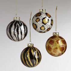 Glass Animal Print Ball Ornaments, Set of 4-Glass Animal Print Ball Ornaments, Set of 4 | World Market
