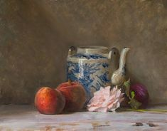 Julian Merrow-Smith - Still life with rose, peaches, plum and Chinese teapot